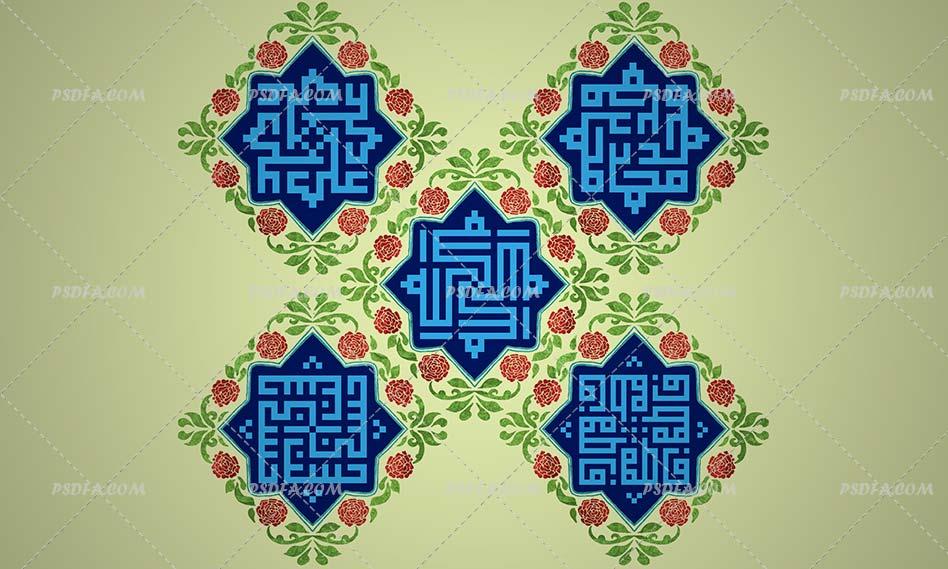 طرح لایه باز پوستر پنج تن آل عبا با خط کوفی مناسب برای فتوشاپ