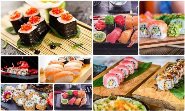 مجموعه 7 تصویر استوک از غذای سوشی اشتها آور با کیفیت بالا