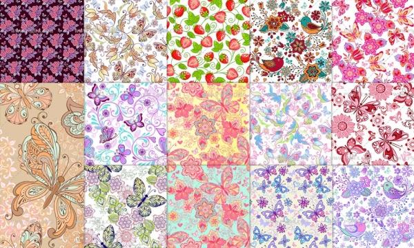 دانلود مجموعه 14 تصویر وکتور پترن از عناصر گل و پروانه تزئینی