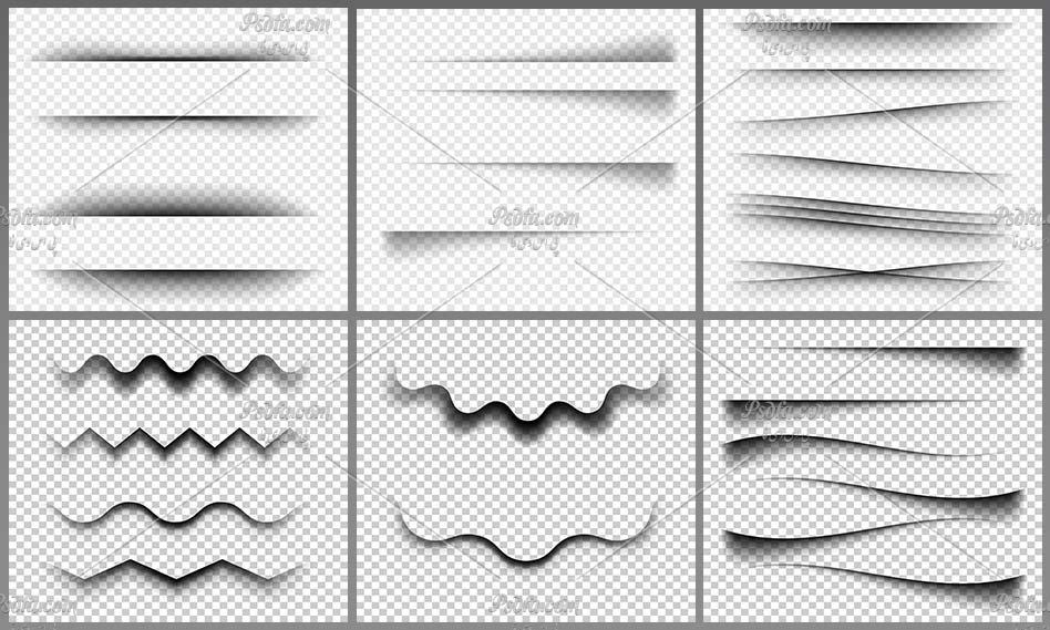 دانلود مجموعه تصاویر وکتور افکت های مختلف سایه بدون بک گراند