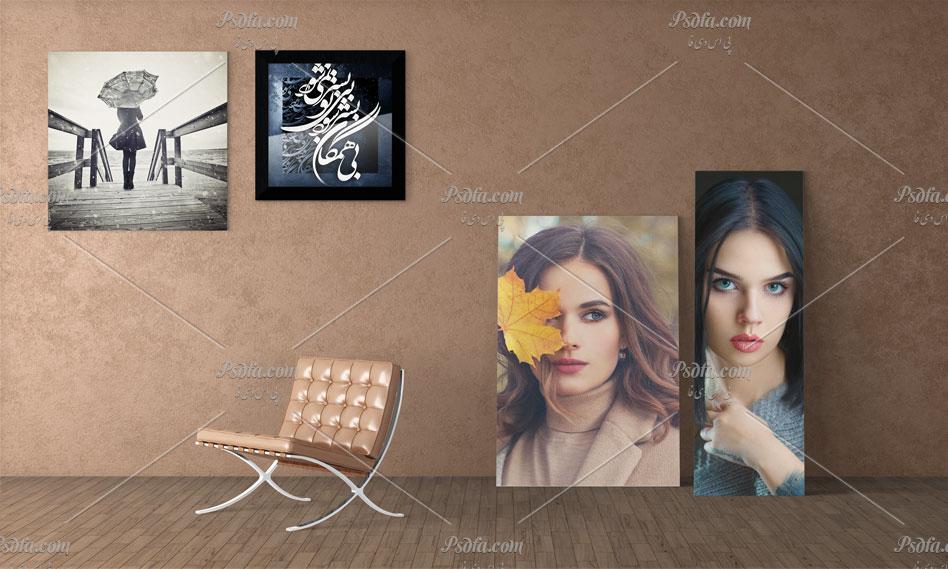 دانلود مجموعه موکاپ لایه باز قاب عکس و تخته شاسی بر روی دیوار