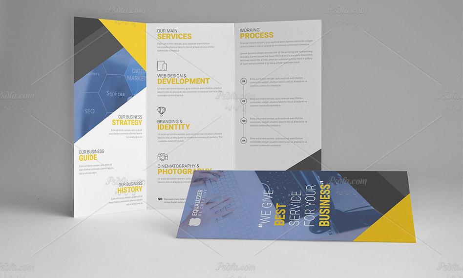 طرح لایه باز و قالب آماده بروشور سه لت شرکتی با فرمت psd