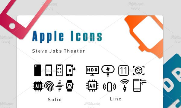 مجموعه آیکون دستگاه های مختلف شرکت اپل با فرمت SVG