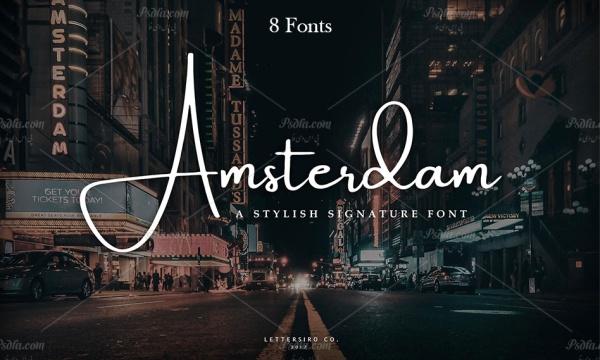 8 فونت انگلیسی دستنویس Amsterdam مناسب برای طراحی و گرافیک