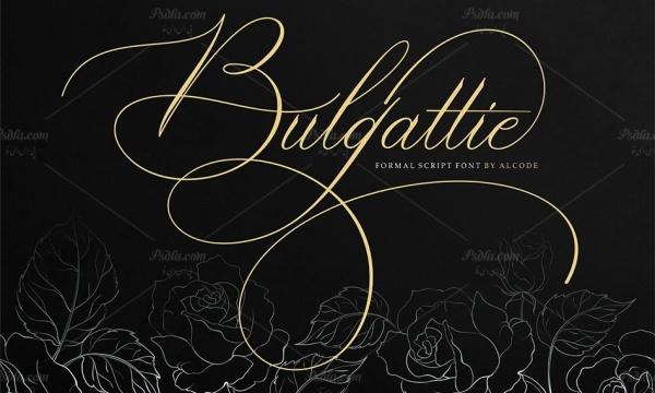 فونت انگلیسی Bulgattie مناسب برای طراحی انواع کارت عروسی و کارت تبریک