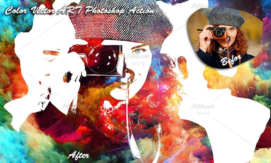 تبدیل تصاویر به وکتور نقاشی هنری در فتوشاپ با اکشن Color Vector ART