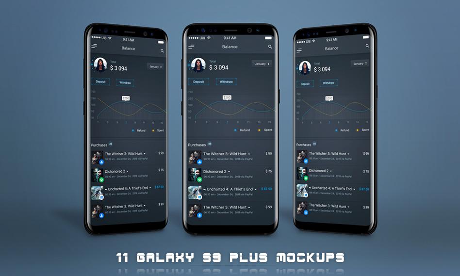 11 موکاپ سامسونگ گلکسی S9 Plus با فرمت psd + فیلم آموزشی
