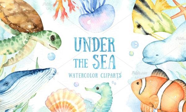 مجموعه تصاویر کلیپ آرت آبزیان و موجودات دریایی با طرح آبرنگی