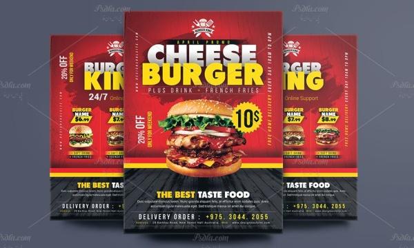 طرح لایه باز تراکت تبلیغاتی فست فود و ساندویچی با فرمت psd