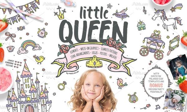 وکتور تصاویر کلیپ آرت ملکه کوچولو با طرح فانتزی و 3 رنگبندی متفاوت