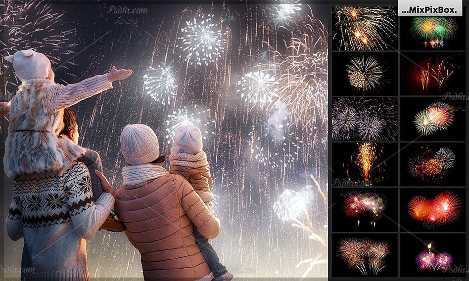 بیش از 100 افکت آتش بازی (افکت فشفشه) در شب برای فتوشاپ با کیفیت بالا