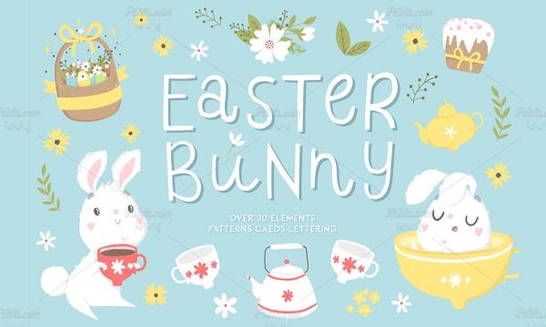 مجموعه وکتور پترن و طرح فانتزی خرگوش در فصل بهار