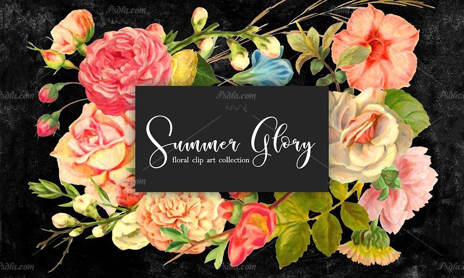 مجموعه تصاویر png گل و غنچه بهاری با طرح آبرنگی