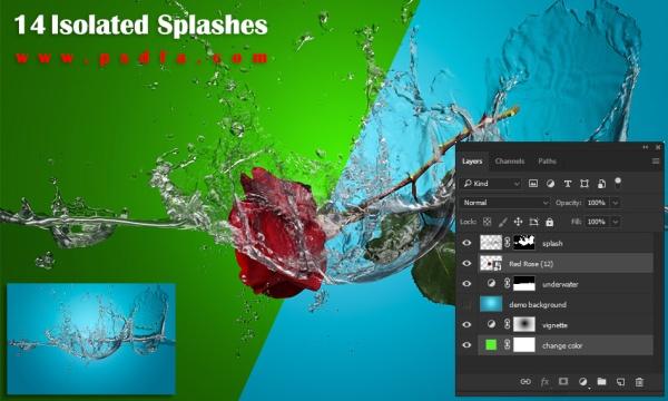 14 طرح لایه باز آب پاشیده شده و قطرات آب معلق با فرمت PSD