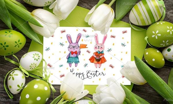 مجموعه پترن و تصاویر خرگوش فانتزی با طرح آبرنگی مناسب برای طراحی کارت پستال