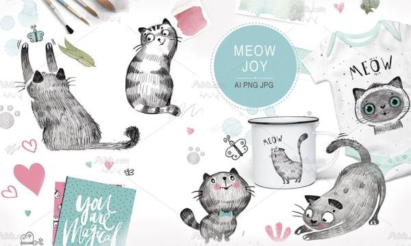 مجموعه تصاویر کلیپ آرت گربه فانتزی طراحی شده به همراه مجموعه پترن گربه ای