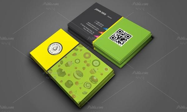 وکتور کارت ویزیت شیرینی فروشی به صورت لایه باز با فرمت AI