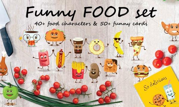 وکتور فانتزی و بامزه انواع میوه جات ، غذاها ، خوراکی ها و نوشیدنی ها