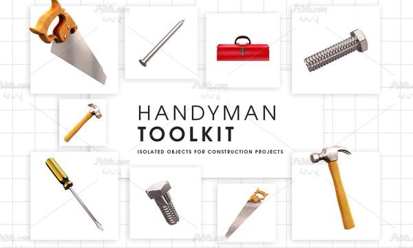 کلیپ آرت ابزار و یراق شامل پیچ گوشتی ، اره ، چکش ، پیچ و مهره ، جعبه ابزار و …