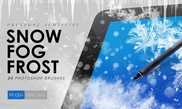 براش برف ، یخ و مه برای فتوشاپ Snow Fog Frost Photoshop Brushes