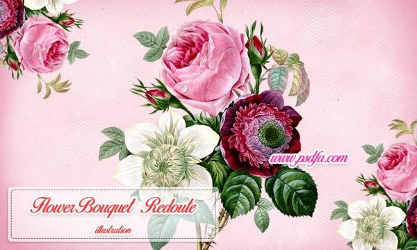 طرح زیبای دسته گل رز بدون بک گراند با کیفیت بالا مناسب برای طراحی