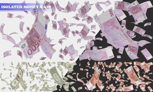 4 طرح لایه باز بارش باران پول و اسکناس های دلار ، یورو و روبل