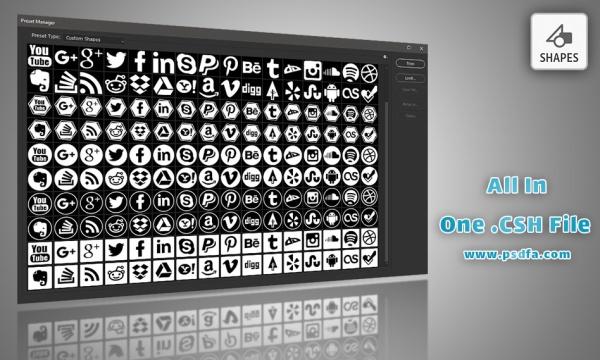 160 شیپ آیکون های شبکه های اجتماعی برای فتوشاپ با فرمت CSH
