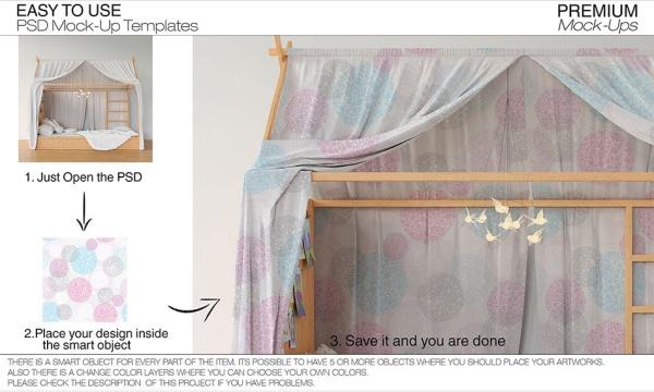 موکاپ اتاق خواب و تخت خواب کودک به صورت لایه باز برای فتوشاپ