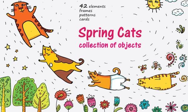 مجموعه پترن و طرح وکتور گربه فانتزی و رمانتیک مناسب برای طراحی
