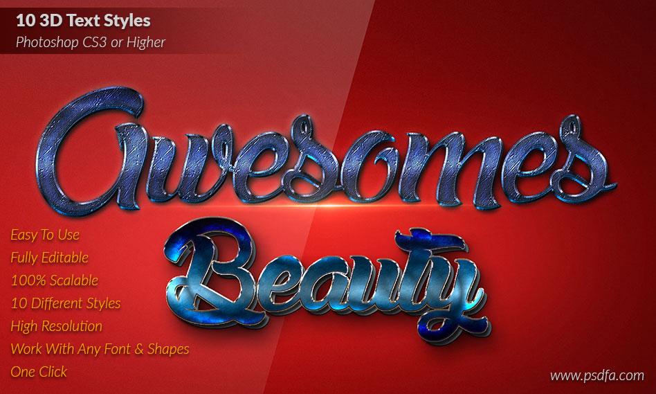 مجموعه 10 استایل متن سه بعدی به صورت لایه باز برای فتوشاپ 3D Text Styles
