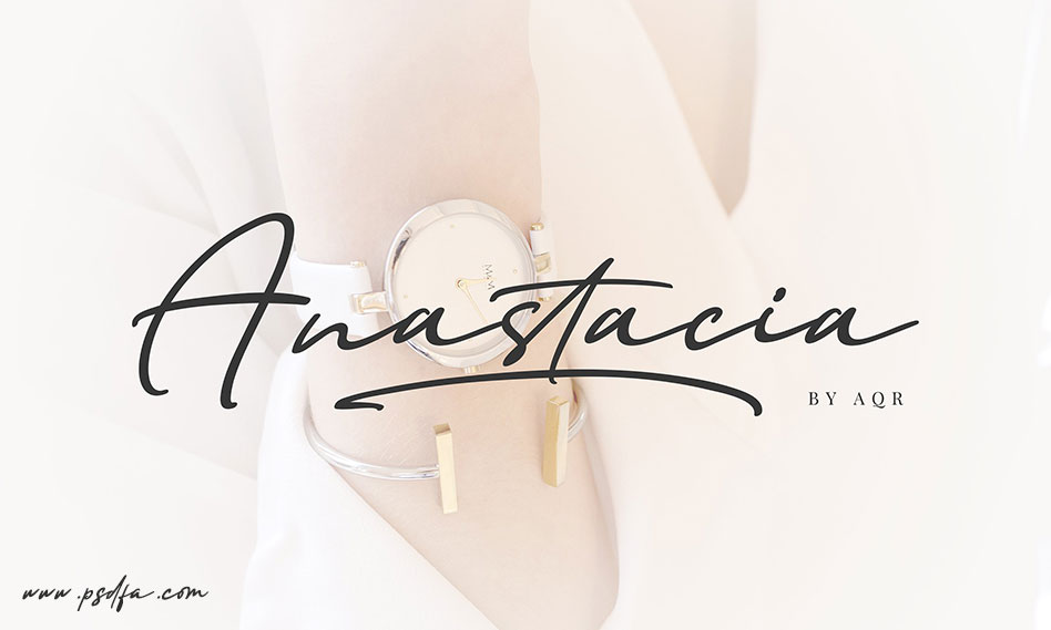 فونت امضاء و دستنویس انگلیسی فوق العاده زیبای Anastacia
