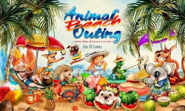 مجموعه تصاویر کلیپ آرت کارتونی حیوانات در ساحل بدون بک گراند با فرمت PNG