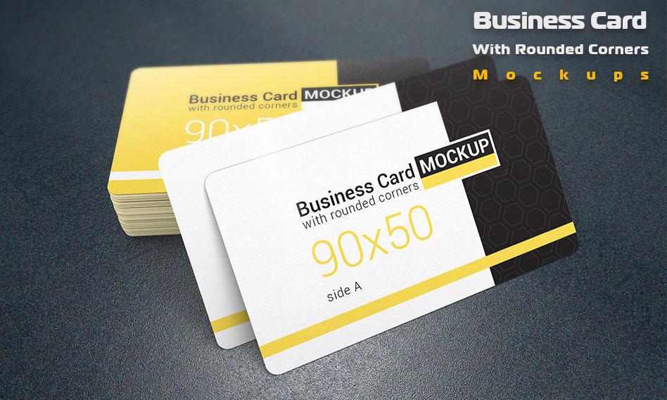 موکاپ کارت ویزیت با گوشه های گرد و با قابلیت تغییر بک گراند برای فتوشاپ