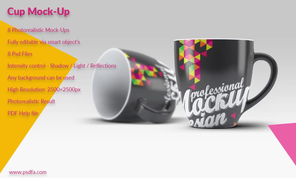 مجموعه 8 موکاپ فنجان قهوه به صورت لایه باز با فرمت PSD