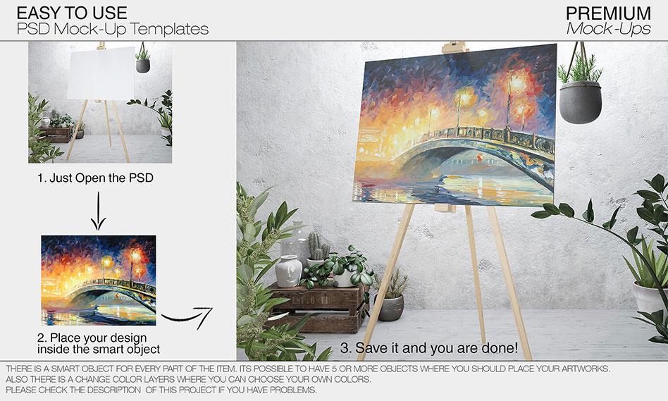 مجموعه 8 طرح لایه باز موکاپ بوم نقاشی در سایز و ابعاد مختلف با فرمت PSD