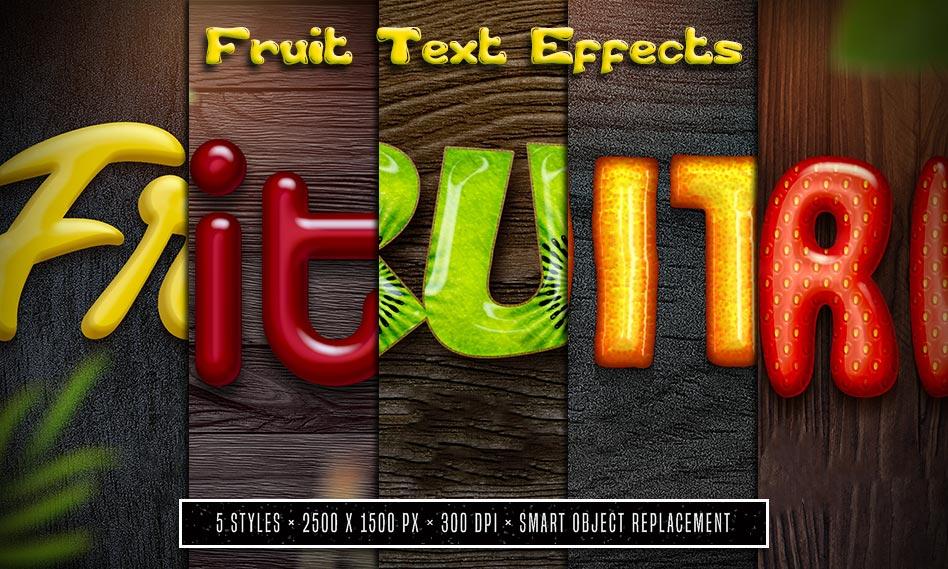 مجموعه استایل و افکت متن میوه ای به صورت لایه باز برای فتوشاپ