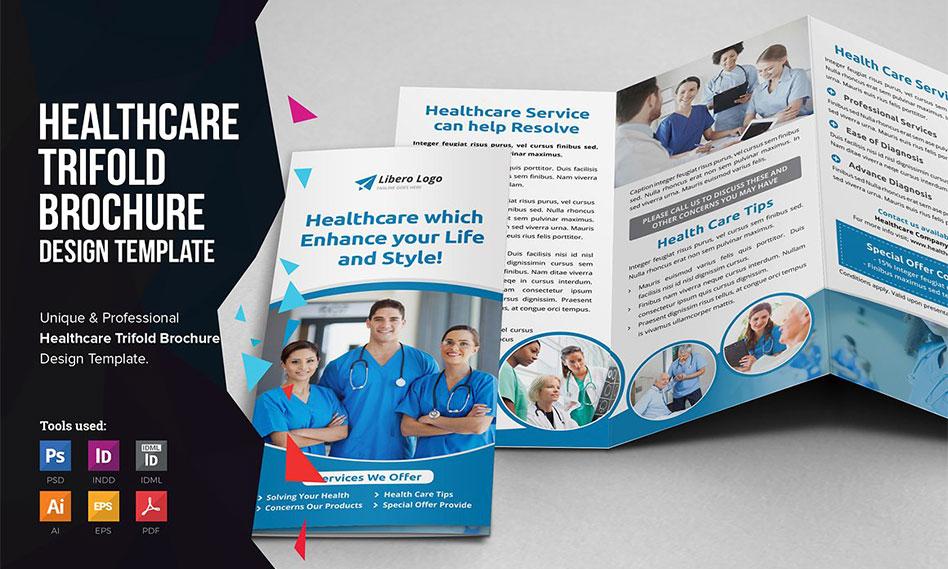 طرح لایه باز بروشور سه لت بهداشت و درمان برای فتوشاپ ، ایندیزاین و ایلاستریتور