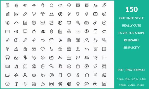 مجموعه 150 آیکون خطی متنوع شامل شبکه های اجتماعی ، مدیا ، ابزارها و …