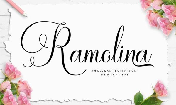 فونت رمانتیک انگلیسی Ramolina Script مناسب برای طراحی کارت تبریک و کارت عروسی