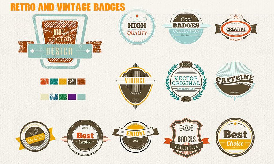 مجموعه 16 طرح وکتور لوگو و نشان قدیمی و گرانج با فرمت PSD , AI
