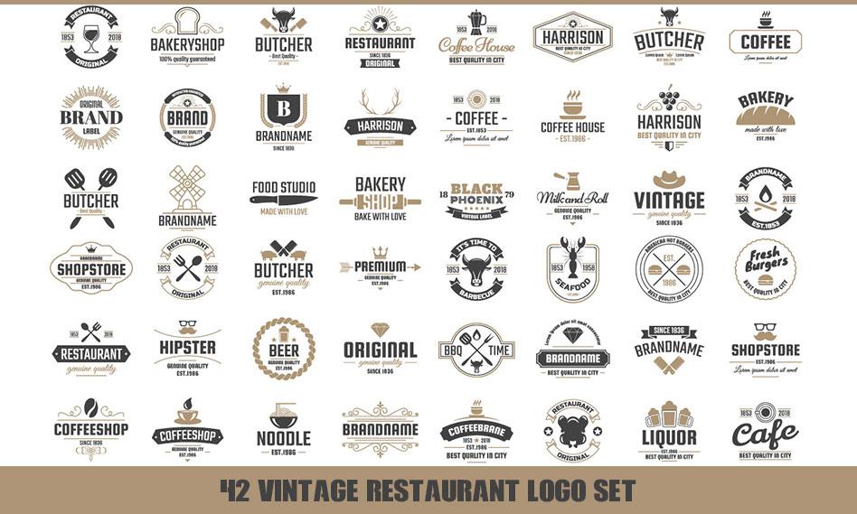 مجموعه 42 لوگوی الهام بخش رستوران و سالن های غذا خوری به صورت وکتور