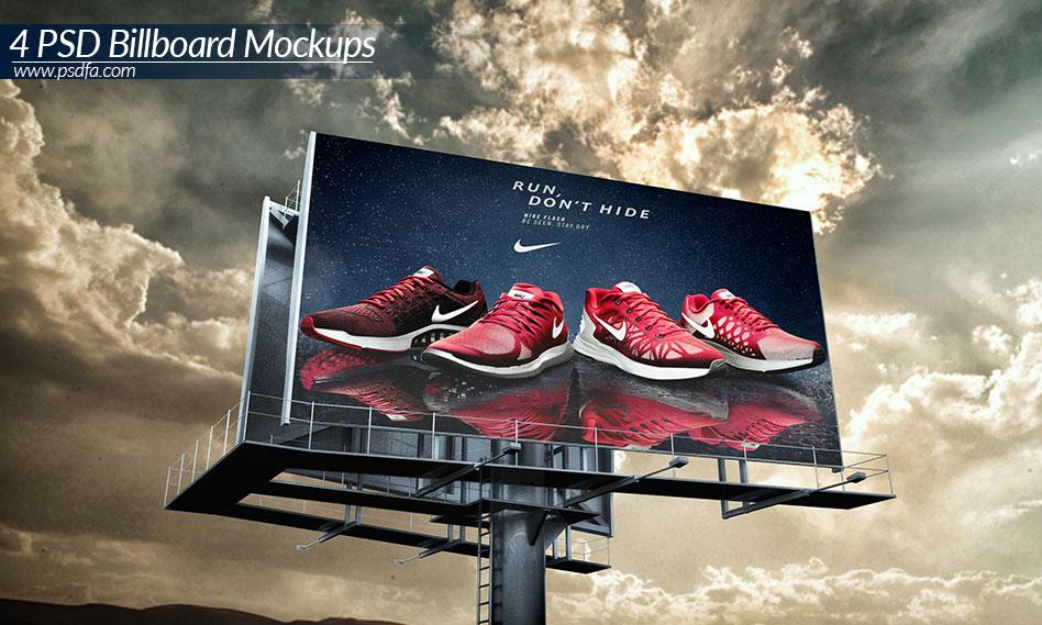 مجموعه 4 موکاپ بیلبورد تبلیغاتی در جاده و خیابان با فرمت PSD