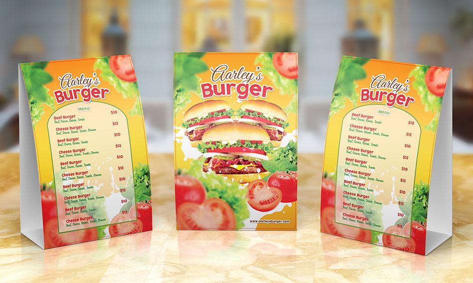 طرح لایه باز منوی غذایی انواع برگر برای فست فود و ساندویچی با فرمت PSD