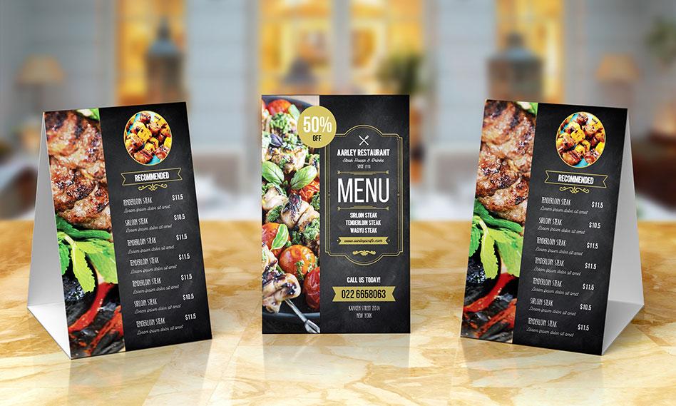 قالب آماده منوی غذایی رستوران به همراه منوی غذایی رومیزی با فرمت PSD
