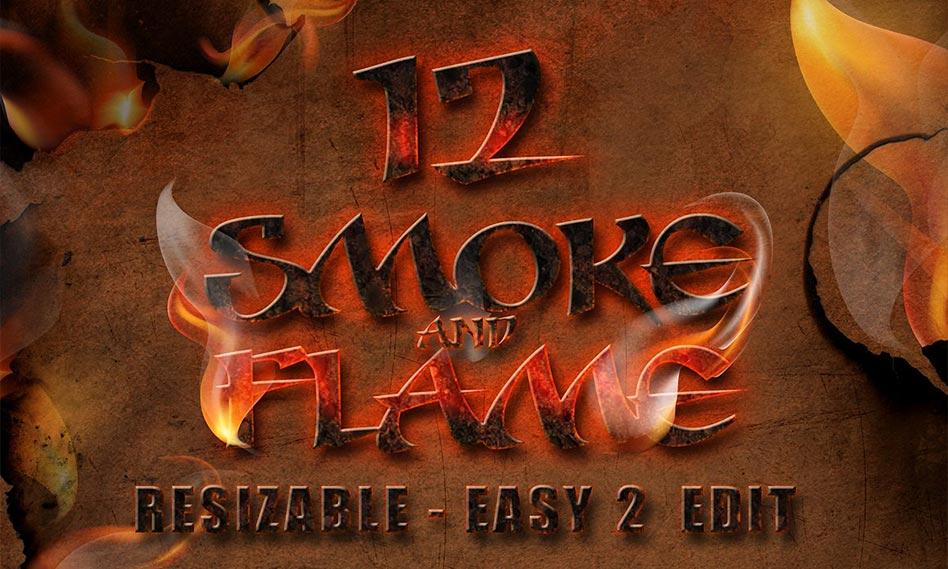 مجموعه 12 افکت دود و شعله آتش طراحی شده به صورت وکتور با کیفیت بالا