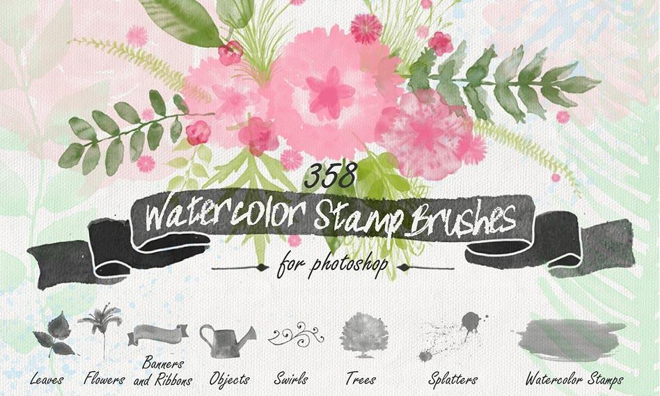 مجموعه براش مهر گل و بوته ، درخت ، روبان و عناصر تزئینی آبرنگی برای فتوشاپ