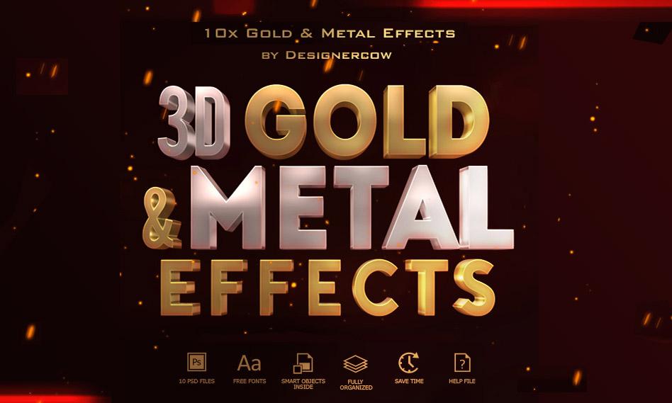 10 افکت و استایل متن سه بعدی طلایی و فلزی به صورت لایه باز با فرمت PSD