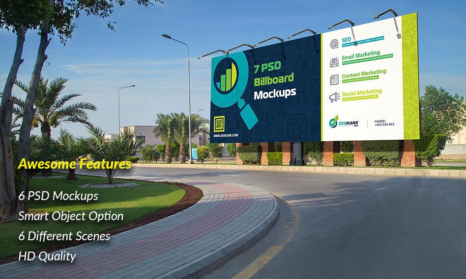 مجموعه 6 موکاپ بیلبورد تبلیغاتی شهری با کیفیت بالا مناسب برای فتوشاپ