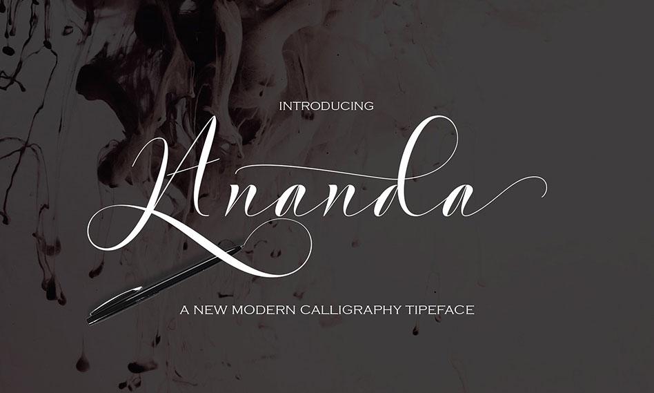 فونت انگلیسی Ananda مناسب برای طراحی کارت عروسی ، کارت تبریک و …