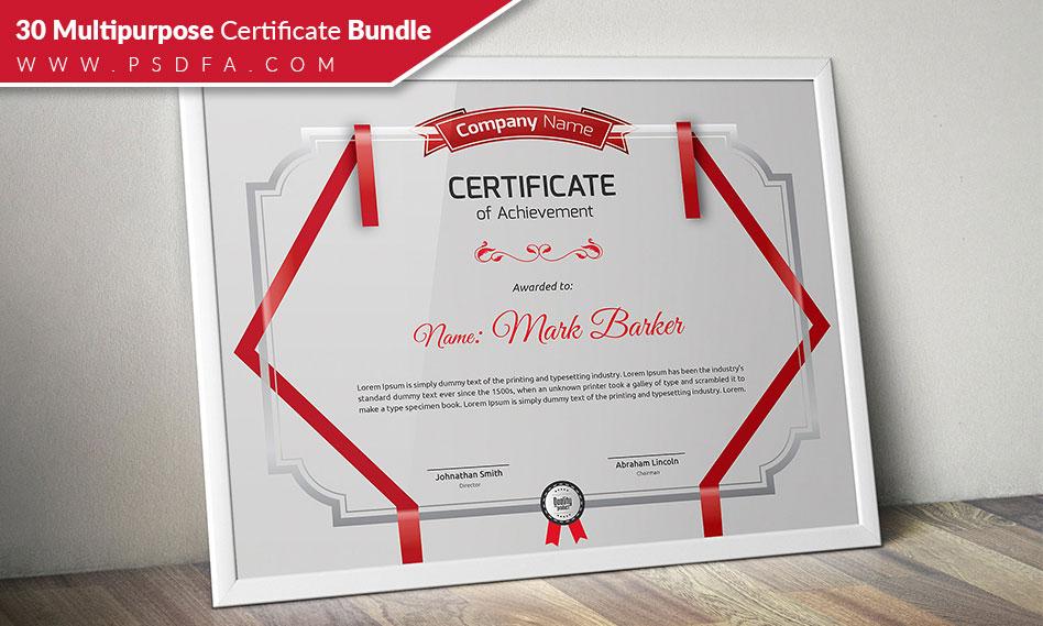 30 طرح لایه باز گواهینامه چند منظوره به صورت وکتور Multipurpose Certificate Bundle